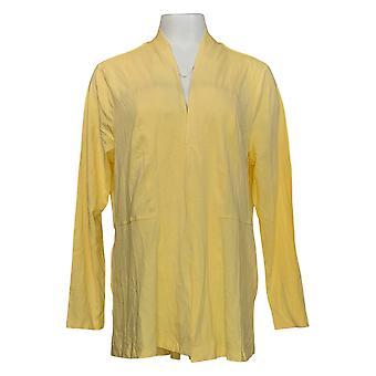 Isaac Mizrahi Live! Women's Regular Sweater Peplum Cardigan Yellow A376851