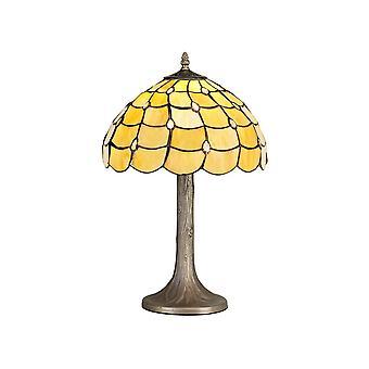 1 albero leggero come lampada da tavolo E27 con 30cm Tiffany Shade, Beige, Cristallo chiaro, Ottone Antico Invecchiato