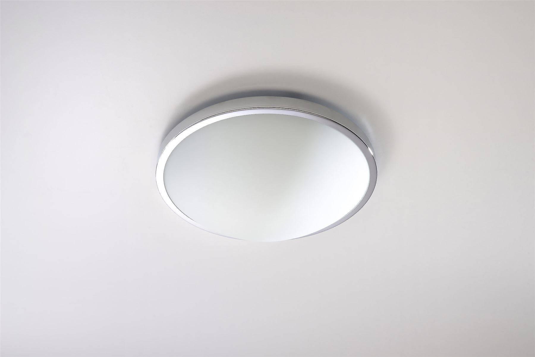 Sollux SOLAR - 1 Light Flush Round Ceiling Light Chrome, E27