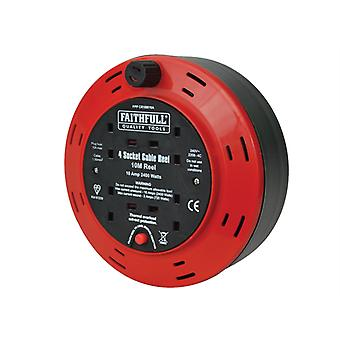 Faithfull Power Plus Cable Reel 240 Volt 10 Metre 10 Amp 4 Socket FPPCR10M10A