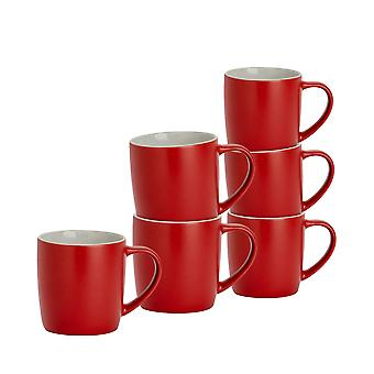 6 Piece Matt Tea and Coffee Mug Set - Modern Style Porcelain Cappuccino Latte Mugs - Red - 350ml