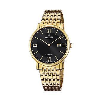 Festina Swiss F20020-3 Men's Swiss Made Black Dial Gold Tone Wristwatch