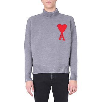 Ami H20hk203018055 Men's Grey Wool Sweater