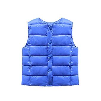 Boys Solid Round Collar Soft Warm Down Vest, Sleeveless Winter Waistcoat