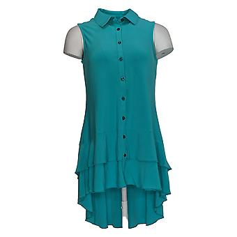 Nina Leonard Women's Top Sleeveless Collared Tank W/ Ruffles Blue 652-774