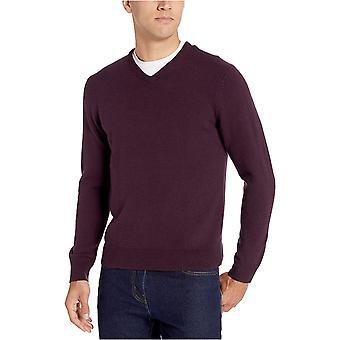 Essentials Men's Standard Midweight V-Neck Sweater, Burgundy, X-Large