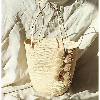 Tote Bag With Nude Beige Pom-poms