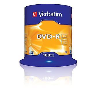 Verbatim 2330529 43549 4.7gb 16x dvd-r matt silver - 100 pack spindle single