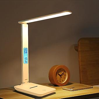 Led Office Desk Lamp, Touch, Dimmable, Foldable, Calendar Temperature Alarm