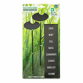 PMS Metal Garden Herb Markers With Stickers Set Of 2