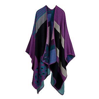 Ladies Autumn/winter Plus Size Leopard Print Purple Warm Scarf Cover Blanket Shawl