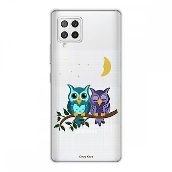 Scafo per Samsung Galaxy A42 5g in Silicone Flessibile 1 Mm, Gufi al chiaro di luna
