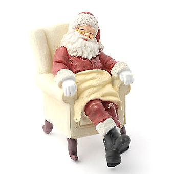 Dolls House Sleeping Father Christmas Figure Santa Clause In Armchair 1:12 Resin