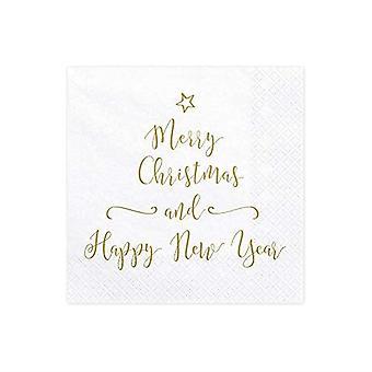 God jul og Godt Nyttår Servietter - Bord Dekorasjon x 20