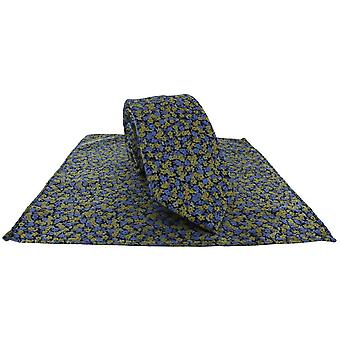 Michelsons av London uskarpt floral slips og pocket square sett - gul
