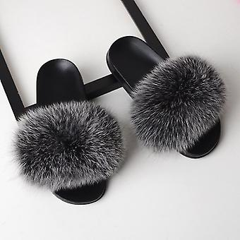 Women Real Fox Fur Slides - Home Furry Flat Cute Fluffy House Shoe  (set-1)