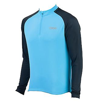 Eigo Tempest Mens Long Sleeve Short Zip Cycling Jersey Sky Blue / Black