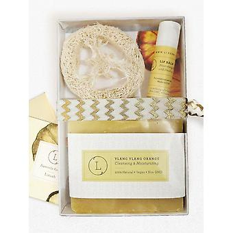 Natural Unscented Lip Balm, Soap And Luffa Kit