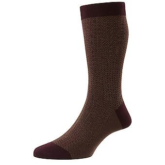 Pantherella Fabian Cotton Fil D'Ecosse Herringbone Socks - Borgonha