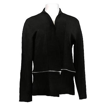 G.I.L.I. Got It Love It Women's Jersey Knit Cardigan Zipper Black A390286