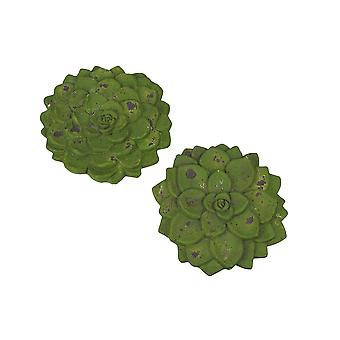 Set of 2 Green Cement Echeveria Succulent Plant Stepping Stones