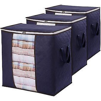 Clothes Storage Bag Large Capacity Organizer , For Comforters, Blankets, Bedding, 3 Pack