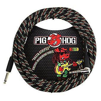 """Pig hog pch20rar right-angle"""" to 1/4"""" rasta stripes guitar instrument cable, 20 feet"""