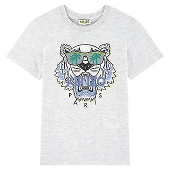 Kenzo pojat tiikeri logo vaaleanharmaa t-paita kq10678