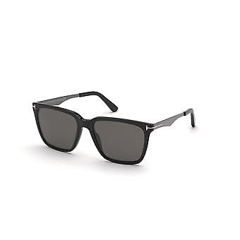 Tom Ford Garrett TF862 01D Óculos de Sol Preto Brilhante/Fumaça Polarizados