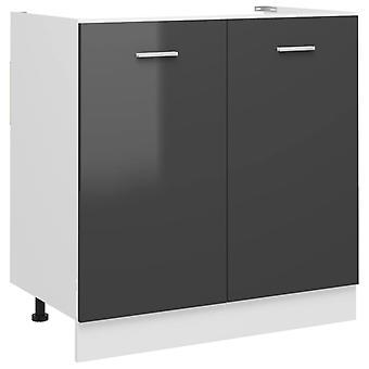 Sink Bottom Cabinet High Gloss Grey 80x46x81.5 Cm Chipboard