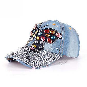 Butterfly Brim Denim Baseball Cap Diamond Spot Adjustable Snapback Hat