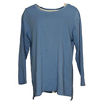 Isaac Mizrahi Live! Dames Top Plus Katoen Hi Low Hem Knit Blue A389762