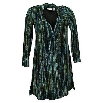 Susan Graver Women's Sweater Petite Knit Duster Green A366174