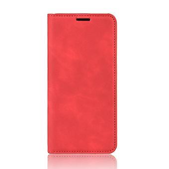 サムスンギャラクシーA12のための磁気エレガントなレザーケース - 赤