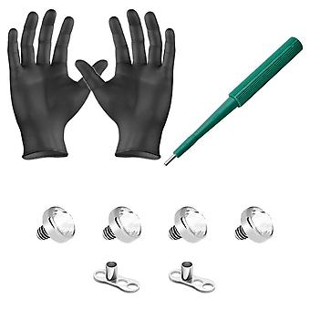 Dermal piercing kit 4 clear cz tops 2 dermal bases puncher and gloves 8 pieces