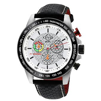 GV2 Men's Scuderia White Dial Black Leather Chronograph Date Watch