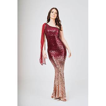 Two-tone one shoulder shawl sleeveless sequin maxi dress