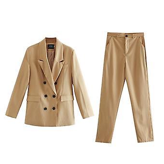 Jesenné sako a súprava nohavíc, dámske dvojradové suit bunda