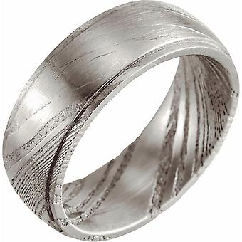 Damasco Steel 8mm Polished Flat Patterned Band Jewely Giftsy for Women - Ring Size: 8.5 a 12