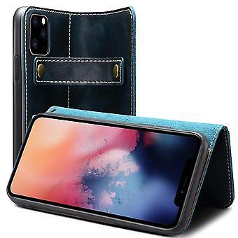 Emplacement de carte d'étui de portefeuille en cuir véritable pour iphonexs max6.5 bleu no4431