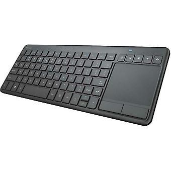 Trust Smart TV Wireless Keyboard UK Layout Multimedia Keys 10m Range