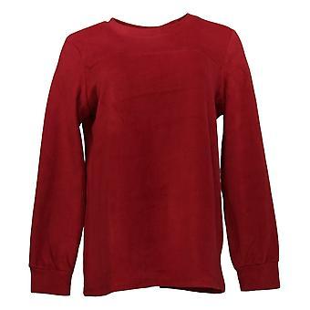 Cuddl Duds Women's Top Fleecewear Stretch Crew-Neck Pullover Red A381759