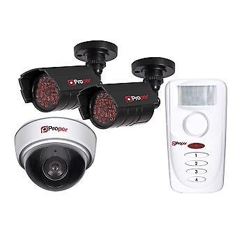 Proper Dummy Security Kit -1x Dome Camera, 2x IR Cameras, 1x Motion Sensor Alarm
