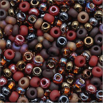 Cuentas de semillas de vidrio checas, 8/0 Round, 1 onza, chocolate mud pie brown mix