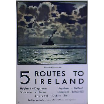 Vintage Metal Znak Retro Art 5 Trasy do Irlandii Ferry Plakat