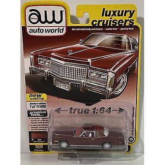 1975 Cadillac Eldorado Cerise Firemist Poly 1:64 Scale Auto World 64282B
