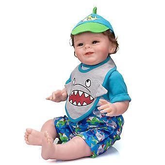 55Cm renacido bebé niño shaya sonriente muñeca cuerpo suave mimoso bebé muñeca bebé raíz cabello regalo de Navidad