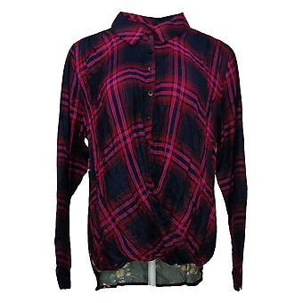 Tolani Collection Women's Top Reg Pullover Plaid Pink A382635