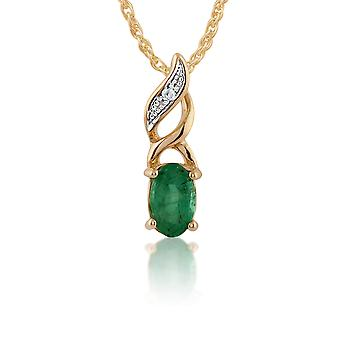 Classic Oval Emerald & Diamond Pendant Necklace in 9ct Yellow Gold 135P1573019