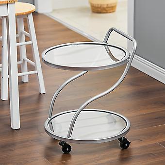 Creative Silver Metal Servant Bar Cart Trolley